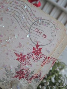 "Stamped and glittered, some lovely ""place cards"" for Christmastime dining..."