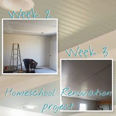 The ceiling is covered with bead board for a beautiful cozy environment; can't wait for the finished product. The walls are textured and painted.