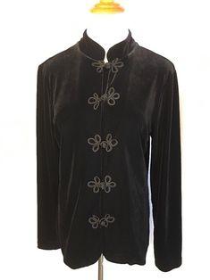 LIBRA Velvet Like Black Front Button Jacket Coat Womens Medium #Libra #BasicJacket