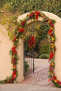 Stock Photo #1336-962, Christmas decoration at the entrance, Santa Fe, New Mexico, USA