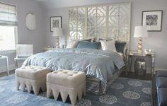 ottomans screens as headboards bedroom gray white design