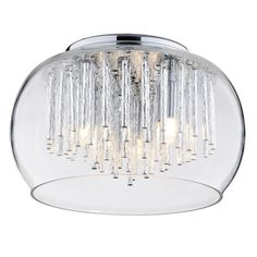 Buy the 3 Light Flush Ceiling Bowl Shade with Aluminium Rods - Chrome & Glass from Litecraft.