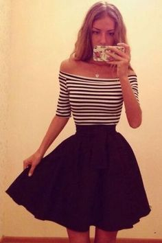 Cheap xl dresses for women, Buy Quality xl dogs directly from China xl top Suppliers: 2015 Casual Striped Off Shoulder Bodycon Dress A-Line Dress Half Sleeve Short Mini dress Ball Gown S/M/L/XL 18 Cute Dresses, Short Dresses, Cute Outfits, Skater Dresses, Bodycon Dress, Sexy Dresses, Fit And Flare, Dress Skirt, Dress Up