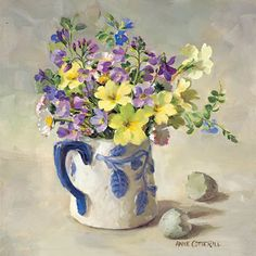 Primroses with Hatched Egg | Mill House Fine Art – Publishers of Anne Cotterill Flower Art