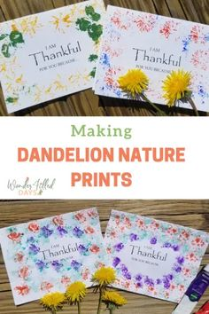 Making Dandelion Nature Prints - Wonder-Filled Days Cool Art Projects, Projects For Kids, Crafts For Kids, Artists For Kids, Art For Kids, Nature Activities, Crafty Kids, Nature Prints, Creative Kids