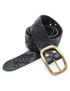 NEW LUCKY BRAND BLACK EMBROIDERY WITH RIVETS LEATHER BELT SIZE SMALL #LuckyBrand