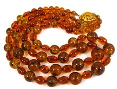 Vintage Warm Brown Art Glass Double Strand by SanDiegoJewelryShop
