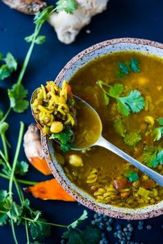 Turmeric Broth Detox Soup- A fragrant, healing broth with rice, lentils, kale, chickpeas and cilantro! | www.feastingathom...