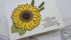 """Heute zeige ich Euch eine Geburtstagskarte, welche ich in den letzten Tagen gewerkelt habe! Geburtstagskarten braucht man doch immer, oder?Ich mußte unbedingt das neue Produktpaket ,,Gute Laune Gruss"""" ausprobieren! Ich find´s einfach mega schön! Sonnenblumen passen so schön zum Sommer!  Und die Sprüche sind auch sooo schön!Verwendet habe ich die Farben: osterglocke, wildleder, espresso, farngrün und waldmoos! Espresso, Simple, Sunflowers, Good Mood, Suede Fabric, Easter Activities, Colors, Espresso Coffee, Espresso Drinks"""
