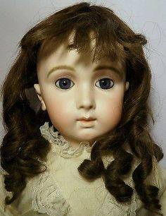 "RARE 30"" Triste Jumeau France Doll ""14"" c1880 Long Face Paperweight Eyes 