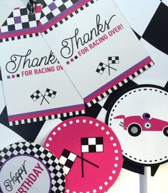 Complete the look for your little girls race car party with this pink, black and white Racer Girl party bundle! Looking for a different color scheme or personalization? Convo me to discuss any design changes! THIS PARTY KIT INCLUDES: *Happy Birthday Banner *2 Cupcake Toppers / Party Circles *Cupcake Wrappers *Party Favor Tags *Water Bottle Wrappers *Food Labels / Table Cards (Tent Style) *Thank You Cards (folded) GET THE INVITATION HERE: https://www.etsy.com/listing/242609230/racer-girl-b...