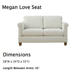 Love Seat.  Good size for a small space. Comes with a huge choice of fabrics.