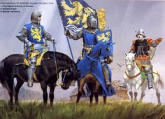 The Swedish Invasion of Russia 1348; L to R King Magnus Eriksson of Sweden, Swedish Knight & German Mercenary.