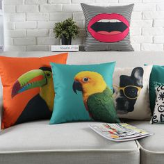 Wholesales Linen Pillow Cover Cushion Cover Pop Colorful Animals Bird Toucan Parrot Bulldog Home Decorative Pillow Case Decorative Pillow Cases, Throw Pillow Cases, Velvet Cushions, Cushions On Sofa, Sofa Cushion Covers, Pillow Covers, Kitchen Chair Cushions, Wholesale Linens, Textiles