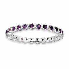 Sterling Silver Amethyst Eternity Stackable Band
