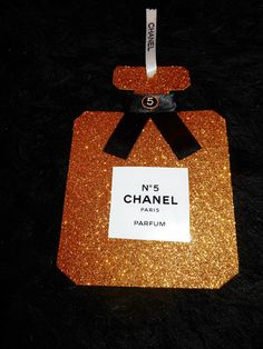 CHANEL INSPIRED GOLD PERFUME BOTTLE CHRISTMAS TREE ORNAMENT PACKAGE DECORATION CHANEL