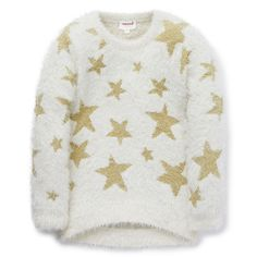 Nylon/Metallic blend. Fluffy, long sleeve sweater features all-over star yardage in Gold Lurex. Regular fitting silhouette. Available in Pearl.