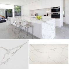 New material now available Calacatta Quartz by #TOPSCO your worktop specialist. Sample slab and kitchen view. Enjoy