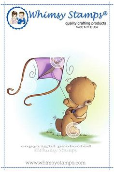 Teddy Flying a Kite Rubber Cling Stamp Whimsy Stamps, Digi Stamps, Bear Cartoon, Love Bear, Clear Stamps, Scrapbook Paper, Cute Art, Winnie The Pooh, Stencils