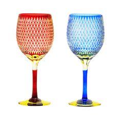 edokiriko Japansese traditional glass art cut glass made by Hanashyo(Tokyo) wine glass江戸切子 華硝 ワイングラス 米つなぎ