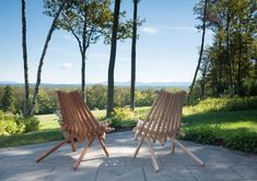 PioneerChair Ash/Mahogany Pair/Original/Deck Chair/Wooden Folding Chair/Patented/Wood/Rope/Patio/Deck/Chair/Furniture/Furnishing/Sustainable