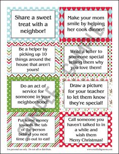 Holiday good deed cards. Not for our elf on the shelf since he does not and will not exist; but just for us to do as a family