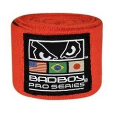 """Bad Boy Pro Series 180'' Elastic Wraps (Pair) Black by Bad Boy. $11.99. Pro Series 180"""" elastic wraps have sewn in hook and loop fastener for durability. All hand wraps have special thumb loop with markings for correct wrapping.  Available in black or red color. Sold in pairs."""