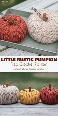 Little Rustic Pumpkin Free Crochet Pattern You don& have to wait for Hallowee . Little Rustic Pumpkin Free Crochet Pattern You don& have to wait for Hallowee . Crochet Gratis, Crochet Toys, Free Crochet, Knit Crochet, Autumn Crochet, Crotchet, Yarn Projects, Crochet Projects, Simple Knitting Projects