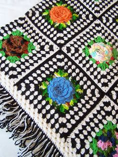 COLORS!!! w/ solid green leaves and red roses...  Granny Chic Crocheted Afghan