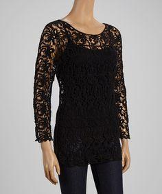 SR Fashions Black Crochet Scoop Neck Top - Women by  #zulily #zulilyfinds