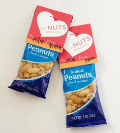 Peanut Package with Label  Friends and coworkers will go nuts over this creative and delicious snack. Other great options include snack mixes, cracker packages, and hot cocoa packets.