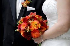 WEDDING BOUQUET WITH ORANGE AND RED FALL - Google Search