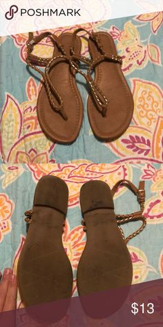 Tan sandals Tan and gold sandals good used condition. Xappeal Shoes Sandals