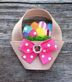 Easter Basket with Eggs Ribbon Sculpture Hair Clip - Toddler Hair Bows - Girls Hair Accessories. Ribbon Hair Clips, Hair Ribbons, Ribbon Art, Diy Hair Bows, Ribbon Crafts, Ribbon Bows, Band Kunst, Toddler Hair Clips, Barrettes