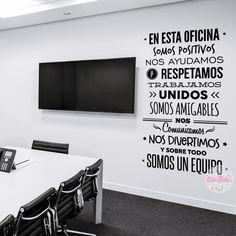 vinilo decorativo pared reglas de oficina textos palabras frases