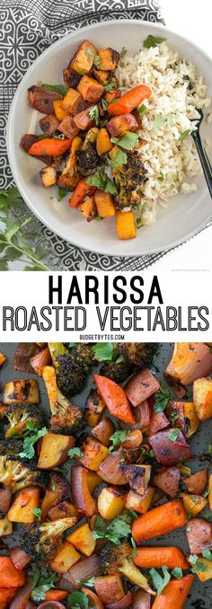Harissa Roasted Vegetables are a spicy, slightly sweet, and smoky vegetable medley that makes a great side for meat or fish. @budgetbytes