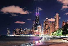 streeterville, chicago at night, from oak street beach.