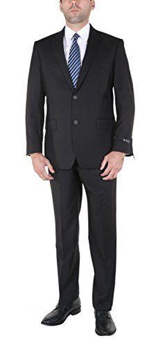 P&L Men's 2-Piece Classic Fit Office 2 Button Suit Jacket & Pleated Pants Set Black 40 Short / 34 Waist