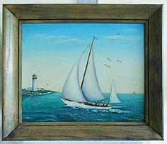 A personal favorite from my Etsy shop https://www.etsy.com/listing/492455207/folk-art-vintage-marine-painting-yacht