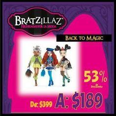 No dejes pasar la oportunidad de completar toda tu colección de Bratzillaz Back To Magic a tan sólo $189.00 pesos cada una.  Sólo en nuestra tienda en línea#Kichink!http://bit.ly/QJerbO