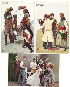Fencing cards by Ludwig Kainradl 1910 Mensur, Abgefuhrt,Abfuhr Germany