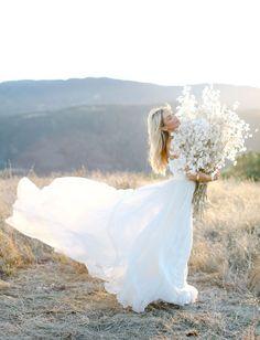 silver dollar bouquet and chiffon Amsale wedding gown