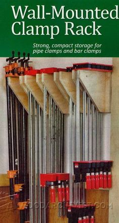 Wall Mounted Clamp Rack Plans - Workshop Solutions Projects, Tips and Tricks – Clamp Storage, Woodwork, Woodworking, Woodworking Plans, Woodworking Projects