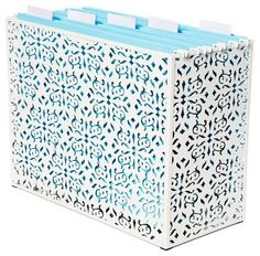 filing  - K's idea: cover my ugly brown accordion files with pretty contact paper to dress it up