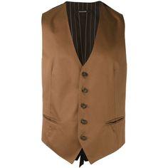 Tagliatore Waistcoat ($187) ❤ liked on Polyvore featuring men's fashion, men's clothing, men's outerwear, men's vests, mens brown vest and men's cotton vest