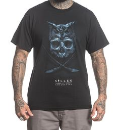 Sullen Clothing Matt Jordan Owl Skull Artist Tattoo Ink T Shirt Owl Skull Tattoos, Jordan Tees, Dog Tags Military, Tattoo Clothing, Lifestyle Clothing, Mens Tees, Tattoos For Guys, T Shirt, Clothes