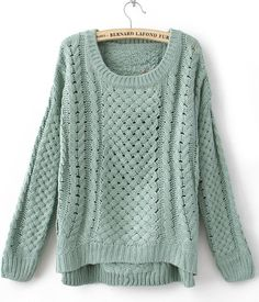 Green Round Neck Long Sleeve Hollow Sweater