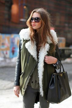 Layers leather, khaki waistcoat and woolen scarf