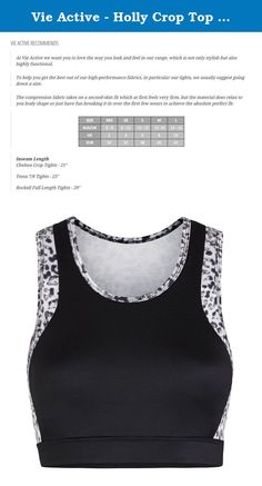 Vie Active - Holly Crop Top Sports Bra (XXS/XS). The Holly Crop Top Sports Bra in Snow Leopard - Fit Tip - this style fits true to size - 73% Cationic Polyester / 27% Spandex - Machine-washable and tumble-dryable without shrinkage or loss of moisture management properties - Built for enhanced performance, reduced muscle injury, and aided recovery between training sessions - The compression fabric takes on a second-skin fit which at first feels very firm, but the material does relax to…