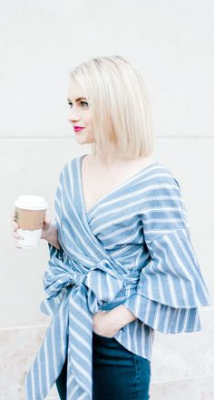 Blue Bow Bell Sleeve Top - Poor Little it Girl #petitestyle